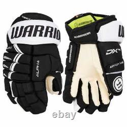 $149 New Warrior Alpha pro Senior ice hockey gloves Black White 14