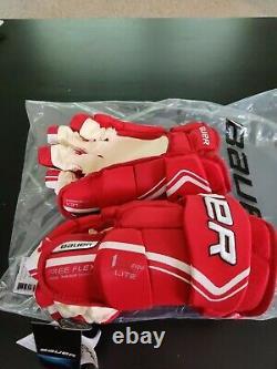 Bauer Vapor 1X Lite Pro Ice Hockey Gloves Red/White Senior Size 14