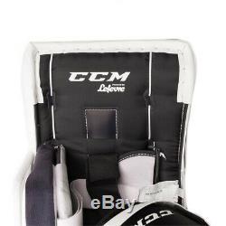 New CCM Extreme Flex E3.9 senior goalie leg pads 35+1 Sr ice hockey Wt/Blue/Red