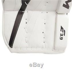 New CCM Extreme Flex E3.9 senior goalie leg pads 35+2 Sr ice hockey Wt/Blue/Red