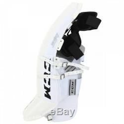 New CCM Premier Pro Senior Ice Hockey Goalie leg pads 35+2 All White sr Goal wt