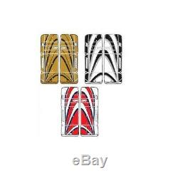 New DR Sonic X9 Sr ice hockey goal leg goalie pads 32/33 Red/Blue, Gold, Black