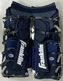 New Franklin THT Pro 9200 32 Senior hockey goalie pads senior ice 32 Navy White