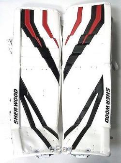 New Sherwood T95 senior goal ice hockey goalie leg pads white/black/red Sr 35+1