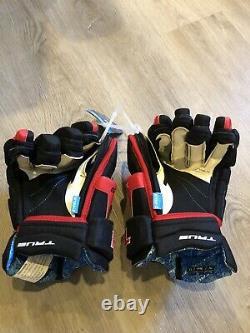 True XC9 XC 9 ZP Zip Palms Senior SR 15 Inch Ice Hockey Gloves Black And Red