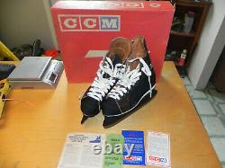 Vintage 1970's 80's CCM TACKS Ice Hockey Skates Brown Leather Size 8 NIB