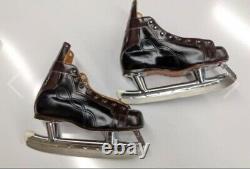60 Vintage CCM Junior Tracks Senior A Taille Patins Hockey Sur Glace En Cuir 5 1/2 Nos