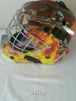 Bauer Nme3 Star Wars Masque De Gardien De Hockey Sur Glace Casque Principal Boba Fett Nouveau Sr