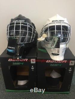 Masque De Gardien De But Sr Pour Hockeyeur Sur Glace Bauer S17 Nme 4! Casque Facemask Noir Blanc Senior