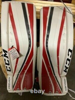 Nouveau CCM Premier Pro Senior Ice Hockey Goalie Leg Pads 34+2 Blanc/rouge/noir