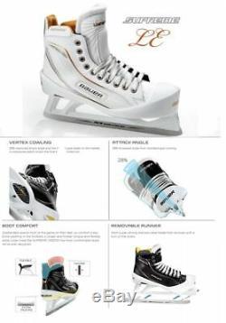 Nouveau Gardien De Hockey Sur Glace Bauer One100le Patins Taille 7.5ee Senior Blanc / Or Hommes Sr