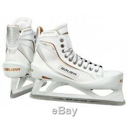 Nouveau Gardien De Hockey Sur Glace Bauer One100le, Taille 8ee Senior, Blanc / Or, Hommes Sr