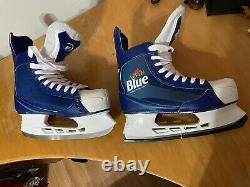 Nouveau Labatt Blue Alcool Patins De Hockey Sur Glace Blanc Et Bleu Taille 10 CCM Beer League