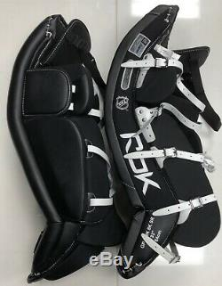 Nouveau Reebok 8k Hockey Sur Glace Jambières Gardien De But Taille 35 Senior Équipement Sr Noir Rouge
