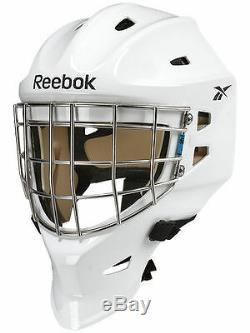 Nouveau Reebok 9k Casque Masque De Gardien Pro Haut Grande Mens Blanc Rbk But De Hockey Sur Glace