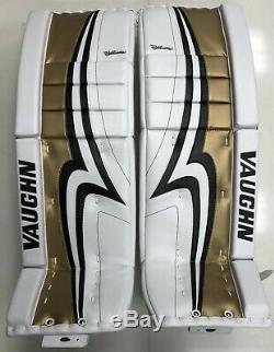 Nouvelles Jambières De Gardien Vaughn Pro V Elite Sr Senior 33 + 2 Dames De Hockey Sur Glace Gold Velocity
