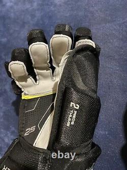 Senior Bauer Supreme Ice Hockey Gloves 2s Pro 14 Black Silver Grip Palm Nouveau